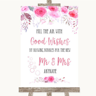 Wedding Sign Poster Print Pink Watercolour Floral Blow Bubbles