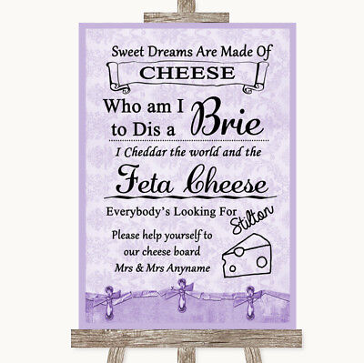 Wedding Sign Poster Print Lilac Shabby Chic Cheese Board Song