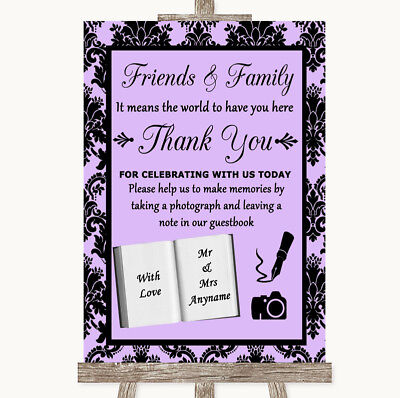 Wedding Sign Poster Print Lilac Damask Photo Guestbook Friends & Family