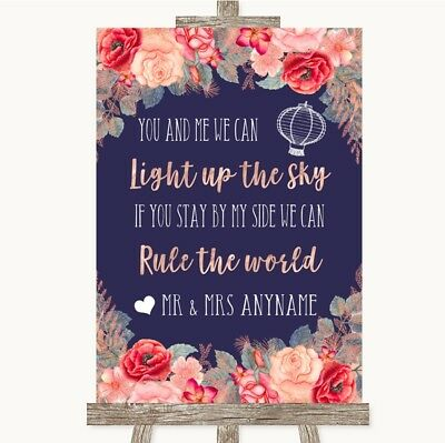 Wedding Sign Navy Blue Blush Rose Gold Light Up The Sky Rule The World