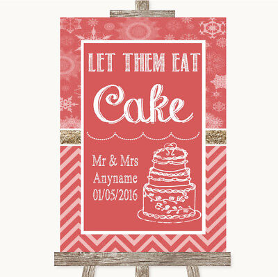 Wedding Sign Poster Print Red Winter Let Them Eat Cake