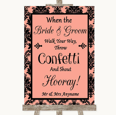 Wedding Sign Poster Print Coral Damask Confetti