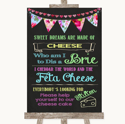 Wedding Sign Poster Print Bright Bunting Chalk Cheesecake Cheese Song