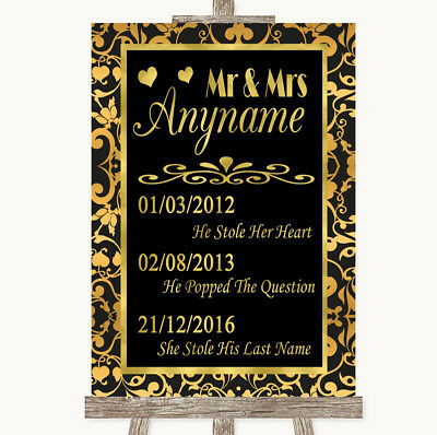 Wedding Sign Poster Print Black & Gold Damask Important Special Dates