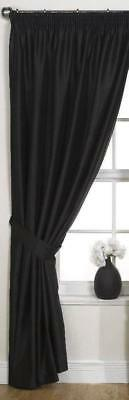 """Black Door Curtain 46"""" x 90"""" Pencil Pleated Floral Jacquard with Tie Back"""