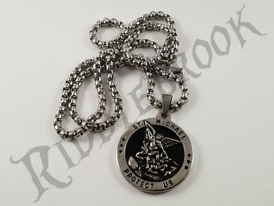 Stainless Steel St Michael pendant and chain patron saint protect us lucky charm
