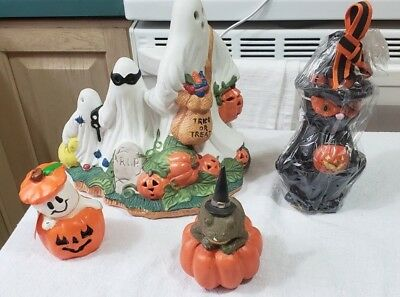 Halloween Lot Lighted Ceramic Ghost  2 Candles Black Cat & Ghost & Frog Figure