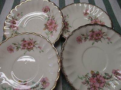 Limoges American Wild Rose Set of 4 Saucers 22K Gold 3KGW