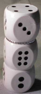 Novelty Refillable Butane Tobacco Lighter Stacked White Dice Flip Lid