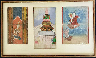 3 Antique Thai Buddhist Illustrated Manuscript Pages, 19th century, framed