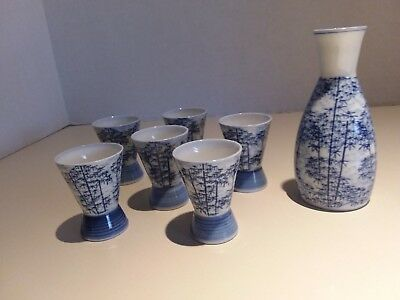 Vintage Blue white Bamboo Design Porcelain 7 Piece  Saki SET Signed