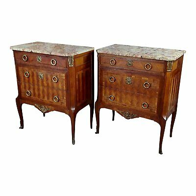 French 19th century Louis XVI Marble Top Walnut Commodes a Pair