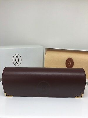 NEW AUTHENTIC CARTIER Hard CASE RED LEATHER EYEGLASSES SUNGLASSES Vintage Case