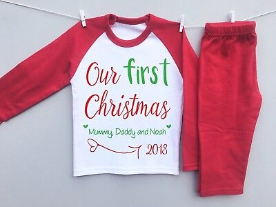 PERSONALISED BABY'S 1st CHRISTMAS eve pyjamas set our first family milestone