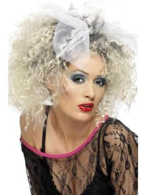 Halloween Madonna Wild Child Blonde + Black Curly Ladies Fancy Dress 1980's Wig