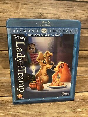 DISNEY Lady and the Tramp Diamond Edition 2 Disc Combo Pack DVD + Blu-ray VG E