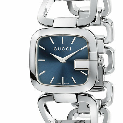 a3615053bad GUCCI G-Gucci YA125405 Stainless Sunburst Blue Dial Women s Watch - New!