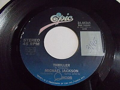 Michael Jackson Thriller / Can't Get Outta The Rain 45 1982 Epic Vinyl Record