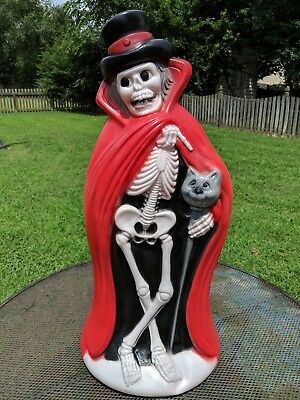 "New 33"" Halloween Blow Mold Skeleton Man with Cat Cane and Red Cloak"