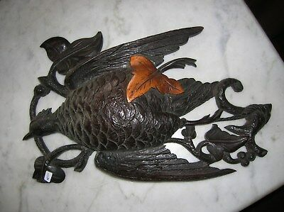 ANTIQUE WOOD BIRD CARVING WALNUT BIRD BRANCHES LEAF ETC.  GC  44.00 or BO
