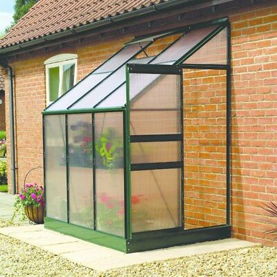 Gardman 6x4 ft Lean To  Walk-In Polycarbonate Greenhouse  Galvanized Aluminium