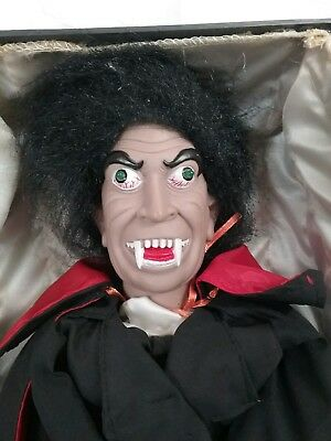 Vintage Motion Activated Halloween Vampire Dracula in a Black Coffin Big Teeth