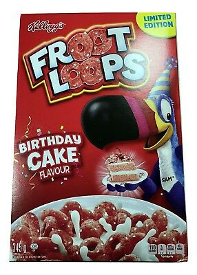 Birthday Cake Flavored Froot Loops Kellogg's Cereal Box 345g Box Limited Edition