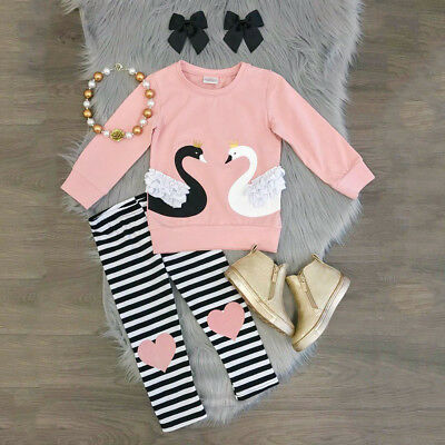 2pcs Toddler Baby Girls Outfits Swan Tops+Striped Pants Autumn Winter Clothes US