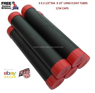 """5 X NAS Protective Plastic Float Tubes 2 1/2"""" X 13inch LONG (33cm) with End Caps"""