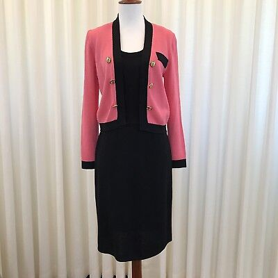 St. John by Marie Gray Suit Santana Knit Pink Black Dress Jacket Vintage Size 2