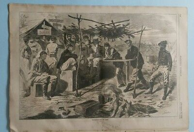 "Harper's Weekly 11/29/1862 Civil War  Winslow Homer ""Thanksgiving in Camp"""