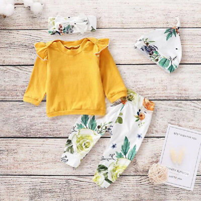 UK Stock Cute Newborn Baby Girls Tops Shirt Flower Pants Hat Outfit Set Clothes