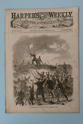 Harper's Weekly 3/1/1862 Surrender of Ft. Henry    Capture of Ft. Donelson  Map