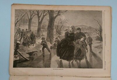 "Harper's Weekly 1/18/1862 Winslow Homer ""Skating Season""   large Richmond VA pic"
