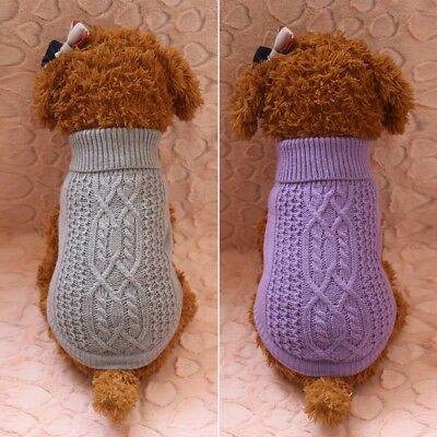 Pet Dog Winter Sweater Puppy Knitted Coat Apparel Small Medium Dog Jacket US