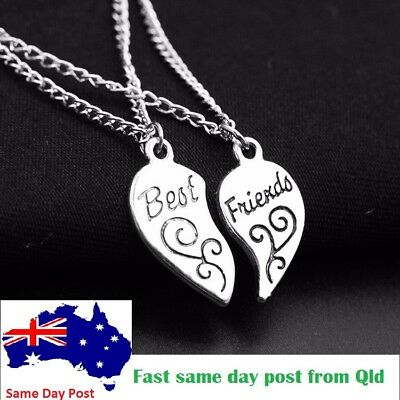 Best Friend Gift Heart Silver 2 Piece Engraved Pendants Necklace Bff Friendship