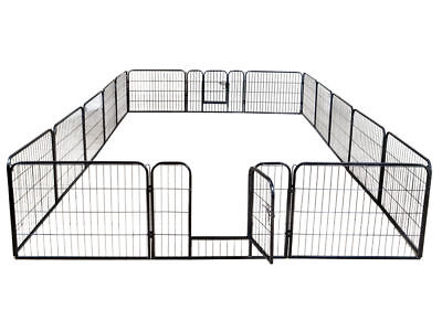 16 Panels Heavy Duty Metal Cage Crate Pet Dog Cat Fence Exercise Playpen Kennel