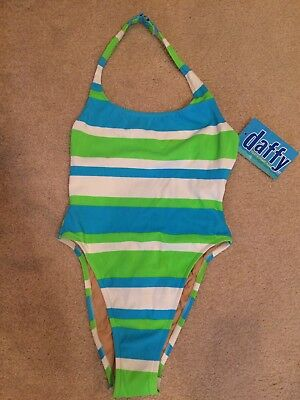 Vintage 80s Daffy Waterwear Womens One Piece Swimsuit Sz 7-8 Green & Teal Stripe