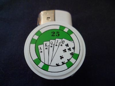 Winlite Poker Chip Refillable Lighters~GREEN