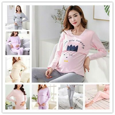 Pregnant Nursing BreastFeeding Woman Cotton Safe Soft Stretch Lift Pants/Top/Set