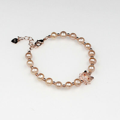 1 pcs Natural 5-6 mm Pink Freshwater pearl Bracelet 18cm ,cat for girls