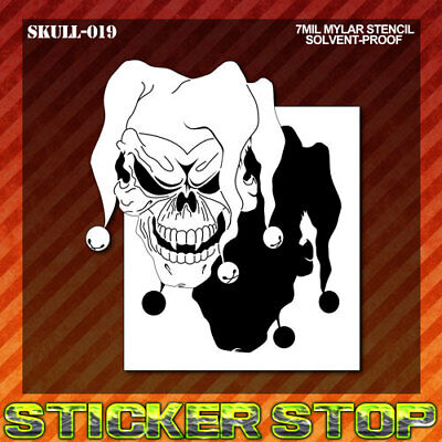 JESTER SKULL MYLAR STENCIL (Airbrush, Craft, Re-Usable, Clown, Joker)