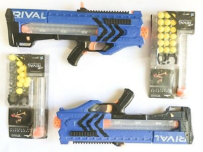 Lot of 2 Nerf Rival Zeus MXV-1200 Blasters - Blue, with 4 magazines and 36 balls