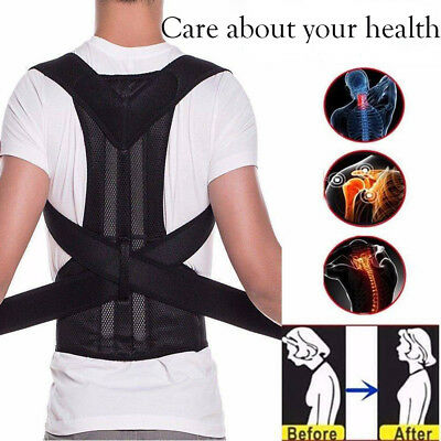Unisex Posture Corrector Bad Back Lumbar Shoulder Support Magnetic Brace Belt