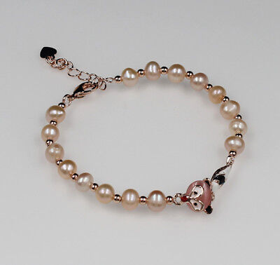 1 pcs Natural 5-6 mm Pink Freshwater pearl Bracelet 18cm ,pink fox for girls