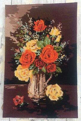 Fab Vtg Completed Tapestry Rose In Copper Jug design Upcycle Craft Reuse