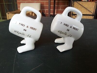 Salt pepper shakers walking feet souvenir whyalla