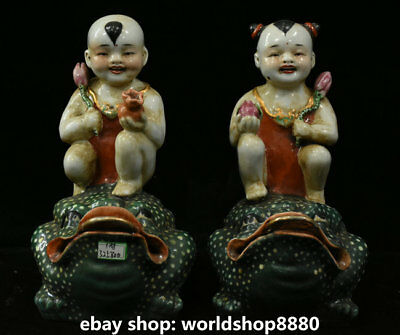 """8""""Chinese antique Colour Porcelain Two Child Boys Girls Fairchild On Toad Statue"""