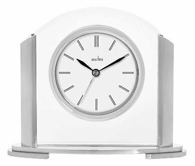 Riccia Silver Effect & Glass Mantel or Table Clock by Acctim