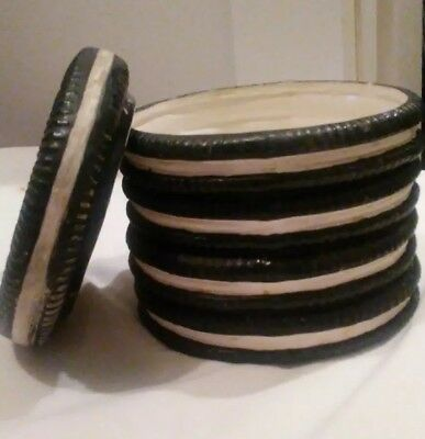 """Oreo or Hydrox Cookie Jar - Dark Brown with White Inside - 5 1/2"""" tall x 6"""" dia."""